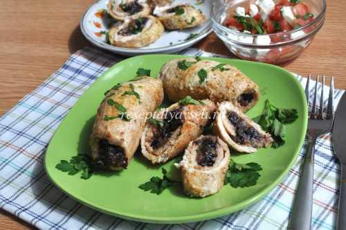 Рецепты куриных рулетиков с черносливом, секреты