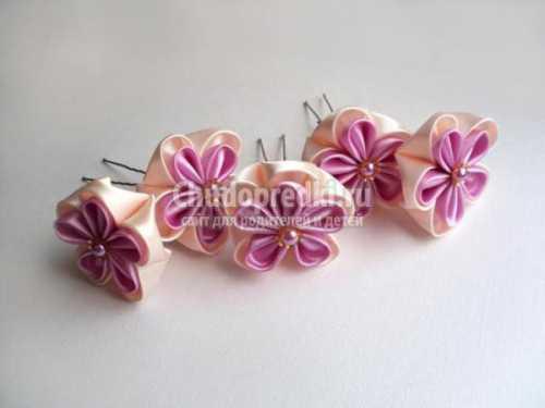 Шпильки канзаши с цветами