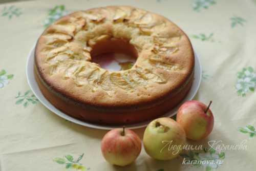 Нежная шарлотка со сметаной и яблоками